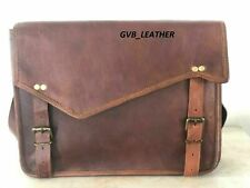 Leather Cross flap Messenger Satchel Briefcase Laptop Bag Vintage Genuine Goat
