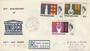 1966 Turks&Caicos registered FDC cover 20th Anniversary UNESCO