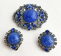 Brooch Czech Vintage Earrings Set Clip Blue Bohemian Art Glass Rhinestones Vtg