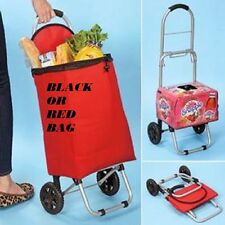 2 in 1 Folding Cart Shopping Handy Cart/ Dolly Groceries with BLACK OR RED BAG!