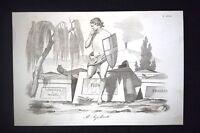 Incisione d'allegoria e satira Italia, Piemonte, Libertà Don Pirlone 1851