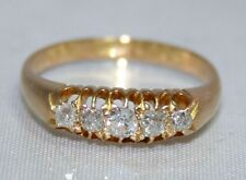 Stunning Antique Victorian c1897 18ct Yellow Gold 5 Stone Diamond Ring UK L1/2