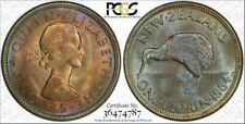 1964 New Zealand One Florin Bu Pcgs Ms65 Color Toned Coin Seven Graded Higher