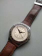 1994 Swatch Stainless Steel Case With Original Leather Band And Buckle...