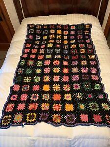 Vintage Crochet Handmade Afghan Granny Square Throw Blanket Rosanne 42x63