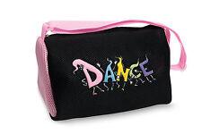 """Girl's Black """"Dancing Feet"""" Mesh Duffle Dance Bag w/ Pink Dansbagz"""