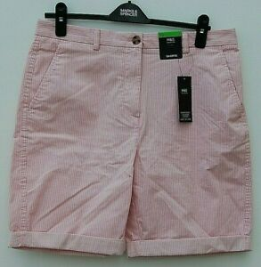 LADIES MARKS AND SPENCER PINK SHORTS WITH WHITE STRIPES SIZE 12
