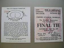 1955 F. A. Cup Final Ticket Newcastle United V Manchester City ottime condizioni.