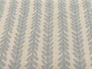 Schumacher Veere Grenney Botanical Stripe Print Fabric- Woodperry / Blue 6.50 yd