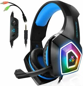 Gaming Headset Mic  LED RGB Light Wired for PS4 PC Xbox phone