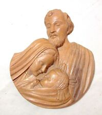 vintage hand carved wood religious Jesus God Mary wall plaque relief sculpture