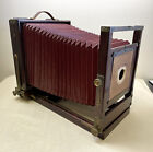 Antique Eastman 8x10 Folding View Camera Body Wood w/Brass Fittings Red Bellows