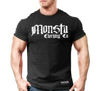 New Men's Monsta Clothing Fitness Gym T-shirt - War Font