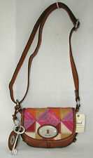 NEW FOSSIL MADDOX PATCHWORK LEATHER+SUEDE+CANVAS SMALL FLAP CROSSBODY HANDBAG
