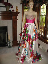 Jovani 7200 White Fuchsia Floral Encrusted Gala Gown Dress 2