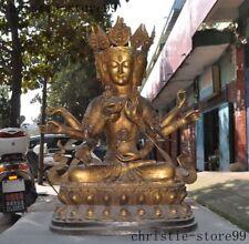 Old Tibet Buddhism bronze Gilt 3 head 8 arm Tara Guanyin Kuan-Yin Buddha Statue