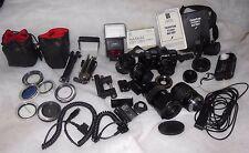 Minolta Maxxum 7000 SLR Camera AF Lens Flash Quantum Battery Manual Tote Bag Lot