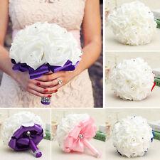 fairy bridal wedding bouquet silk flower handmade crystal bridesmaid foam roses