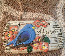 """HOPE"" Blue Bird Indoor/Outdoor Garden Plaque Sign Wall Hanging Resin Decor 4x7"
