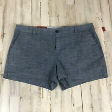 "Merona Womens Shorts 14 Blue Chino Casual 3"" 100% Cotton Flat Front VF4"
