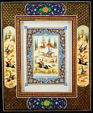 Miniature Persian Painting on Camel Bone in Khatam Marquetry Inlaid Mosaic Frame