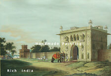 Lal Bagh Faizabad India Historical Monument  Vintage Painting Artwork Building