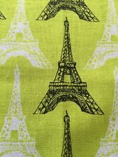 RPE618 Neon Lime Retro Eiffel Tower Paris French Style Cotton Quilting Fabric