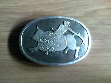 Signed Eddie B Hand Made Sterling Silver Bull Riders Belt Buckle