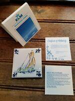 Vintage KLM Business Class Dutch Delft Ceramic Tile Coaster Boat Design w/Packag