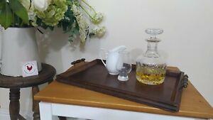 Vintage Antique Wooden Oak Serving Tray Turned Handles  46x33cm