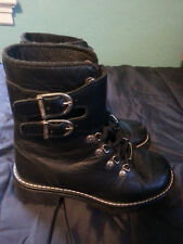 WOMENS HARLEY DAVIDSON BLACK LEATHER BIKER BOOTS WITH BUCKLES SIZE 6 LACE UP