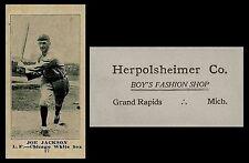 "LOT of 25 REPRINT 1916 M101-5 ""Shoeless"" Joe Jackson Herpolsheimer's back"