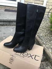 Next Ladies Sexy Black Leather Knee High Boots Size 7