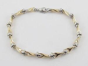 """14K Yellow And White Gold Men's Bracelet 9""""  13.5 grams"""