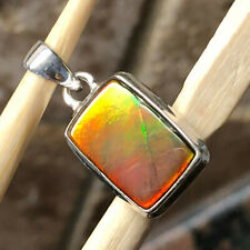 Natural Canadian Ammolite 925 Solid Sterling Silver Healing Stone Pendant 20mm