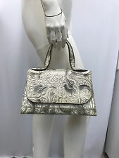 FENDI EMBOSSED LEATHER PURSE TAUPE GREY OFF WHITE FLORAL DESIGN FABULOUS STYLE