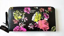 NEW Victoria Secret neon Floral continental zip around Long Wallet Clutch