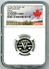 2020 CANADA 5 CENT SILVER PROOF NGC PF70 FIRST RELEASES VICTORY VE-DAY V-E DAY