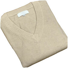Men's V-neck Sweater Nepalese 100% Cashmere A+ Grade Beige Jumper Pullover 2XL