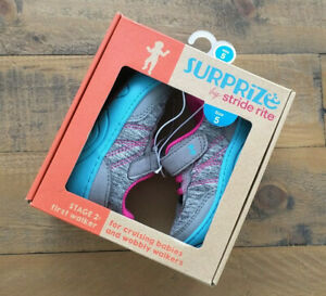 NEW - SURPRIZE by Stride Rite - SIZE 5 Kids Baby Shoes Blue & Pink Girls No Lace