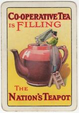 Playing Cards 1 Single Swap Card Old Vintage Wide CO-OPERATIVE TEA Teapot LADY 2