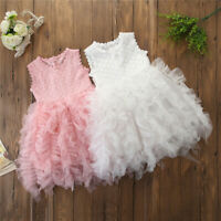 Kids Baby Girl Princess Dress Wedding Bridesmaid Pageant Party Lace Tutu Dress