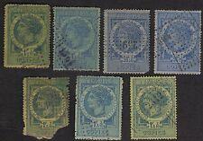 France 1880 Copies Revenues Timbre Copies Perfs Lot Of 7