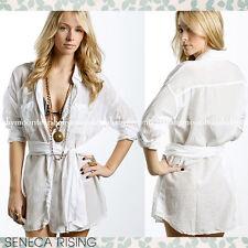 New $177 Seneca Rising Button Down White Shirt Blouse Tunis w tie 1