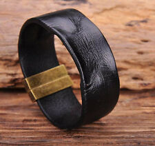 G169 Black Manual Vintage Texture Real Leather Bracelet Wristband Mens Wide Cuff