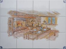 "Dekor Landhaus nach Art:""Delfter Kacheln"",15er Fliesen, Küchenfliesen o. Bordüre"