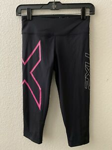 2XU Womans 3/4 Mid-rise Compression Tight Size Small Black/Pink