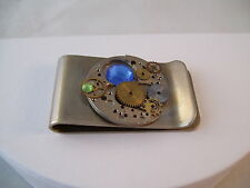 Money Clip Watch Parts Gears Blue & Green Crystal Hand Made OOAK Steampunk Retro