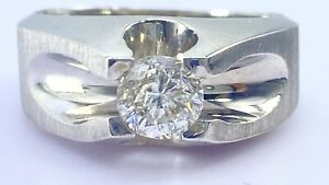 .98 ct natural DIAMOND mens solitaire pinky ring 14 k white GOLD (VIDEO)