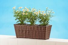 Flower Box Made of Polyrattan 3 Attachments Brown Conical Flower Pots Plastic